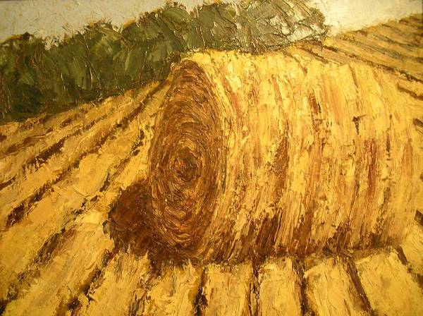 Art Sale Poster featuring the painting Haybale Hill by Jaylynn Johnson