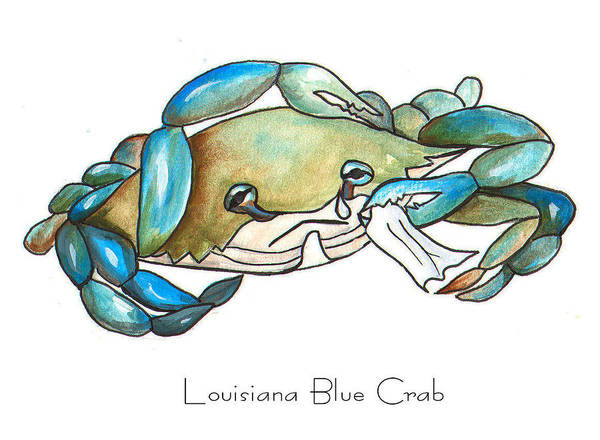 Louisiana Poster featuring the painting Louisiana Blue Crab by Elaine Hodges