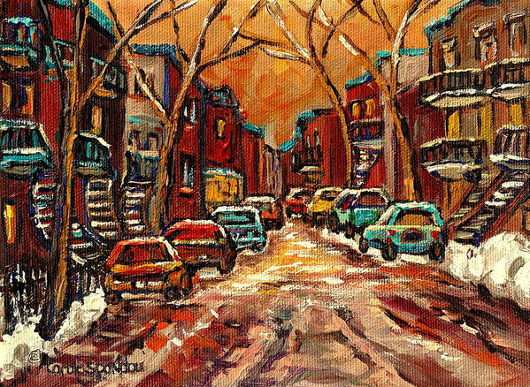 Montreal Street In Winter Poster featuring the painting Montreal Streets In Winter by Carole Spandau