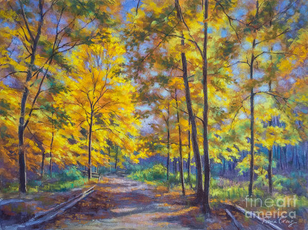 Fiona Craig Poster featuring the pastel Nature Trail Turn Of Autumn by Fiona Craig