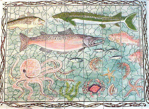 Fish Poster featuring the painting Northwest Fish Mural by Dy Witt