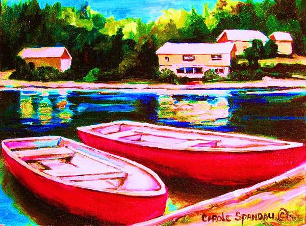 Red Boats Poster featuring the painting Red Boats At The Lake by Carole Spandau