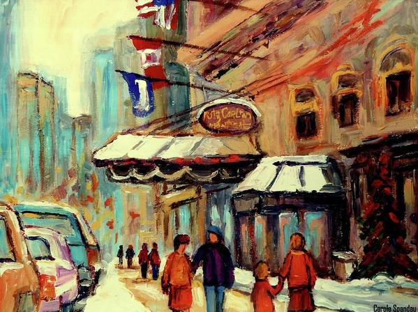 The Ritz Carlton Hotel Poster featuring the painting Ritz Carlton Montreal Cityscenes by Carole Spandau