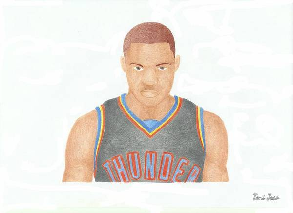 Basketball Poster featuring the drawing Russell Westbrook by Toni Jaso