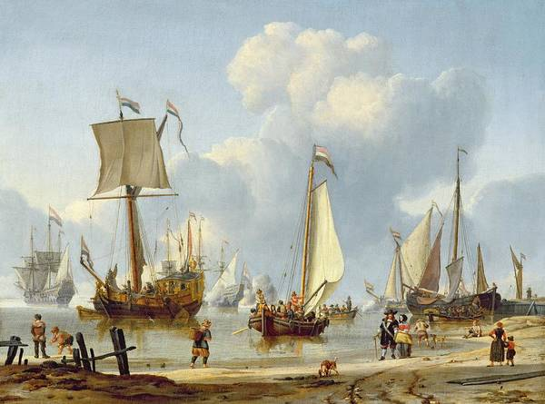Ships Poster featuring the painting Ships In Calm Water With Figures By The Shore by Abraham Storck