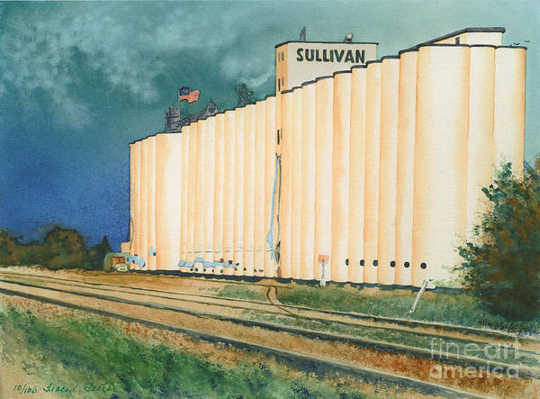 Kansas Poster featuring the painting Sullivan Elevator Ulysses Ks by Tracy L Teeter