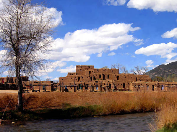 Taos Poster featuring the photograph Taos Pueblo Early Spring by Kurt Van Wagner