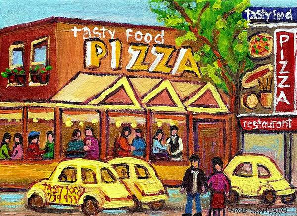 Tasty Food Pizza Poster featuring the painting Tasty Food Pizza On Decarie Blvd by Carole Spandau