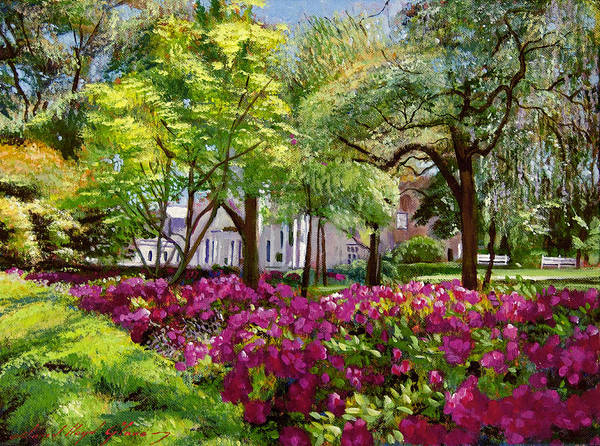 Impressionist Poster featuring the painting The Azaleas Of Savannah by David Lloyd Glover