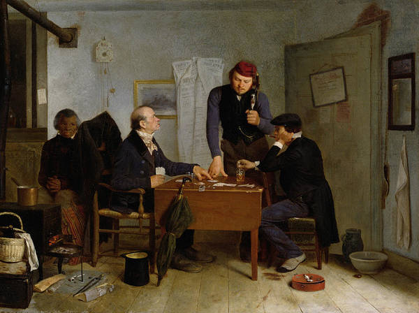 The Poster featuring the painting The Card Players by Richard Caton Woodville