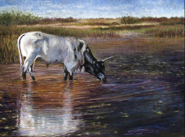 Cow Poster featuring the pastel The Drink by Susan Jenkins
