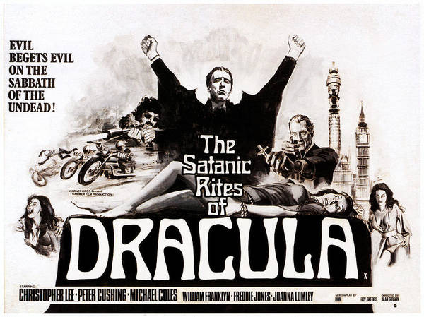 1970s Poster Art Poster featuring the photograph The Satanic Rites Of Dracula, Center by Everett