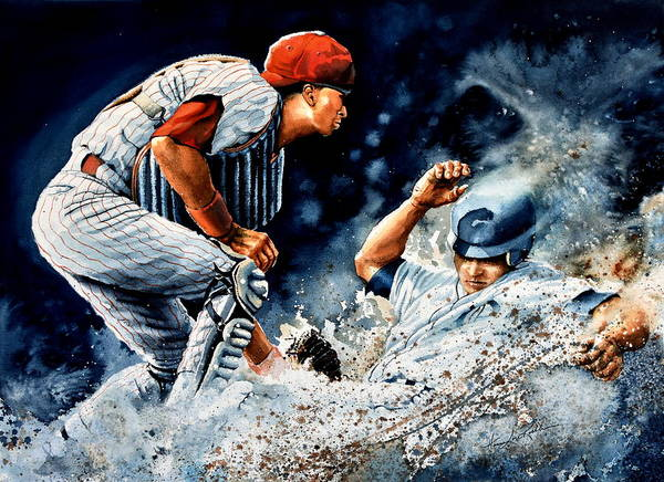 Sports Art Poster featuring the painting The Slide by Hanne Lore Koehler