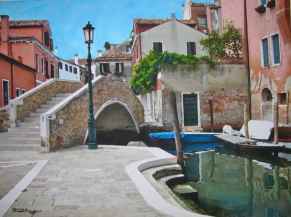 Angelica Dichiara Poster featuring the mixed media Venice Piazzetta And Bridge by Italian Art