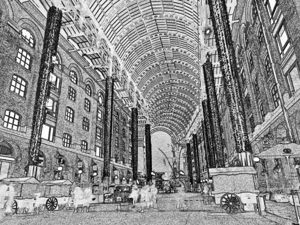 Hays Poster featuring the digital art Hays Galleria London Sketch by David Pyatt