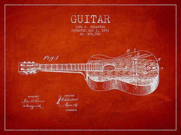 Guitar Patent Poster featuring the drawing Stratton Guitar Patent Drawing From 1893 by Aged Pixel