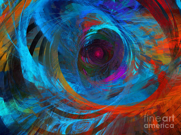 Abstract Poster featuring the digital art Abstract Jet Propeller by Andee Design