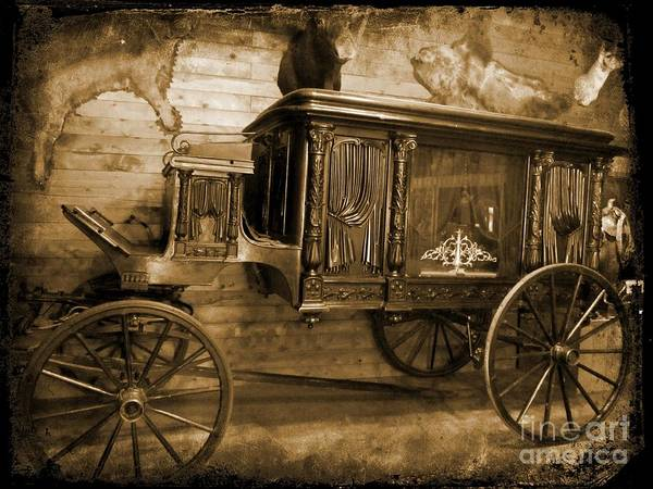 Hearse Images Poster featuring the photograph Antique Hearse As Tintype by Crystal Loppie