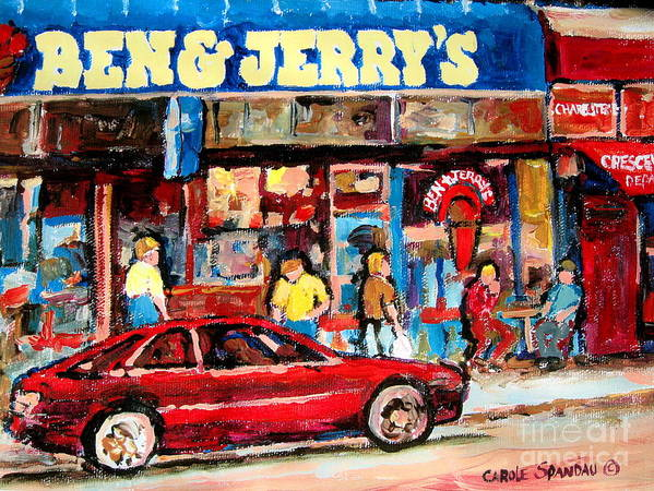 Cafescenes Poster featuring the painting Ben And Jerrys Ice Cream Parlor by Carole Spandau