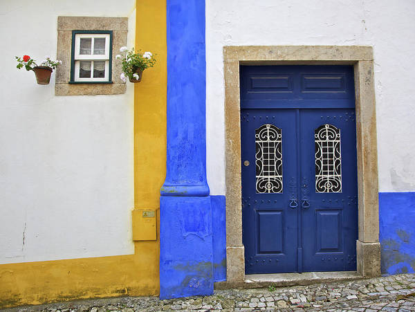 Blue Poster featuring the photograph Blue Door Of Medieval Obidos by David Letts