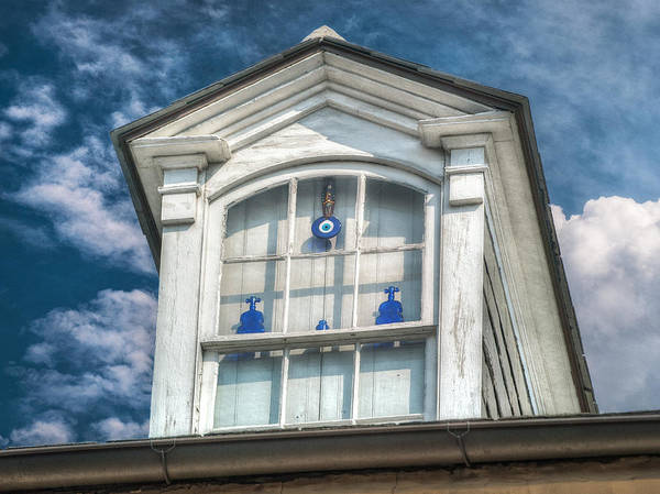 French Quarter Poster featuring the photograph Blue Glass In Window by Brenda Bryant