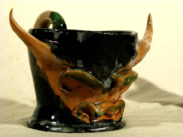 Bull Cup Poster featuring the ceramic art Bull Cup by Troy Howard