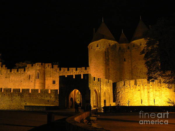Carcassonne Poster featuring the photograph Carcassonne At Night by France Art