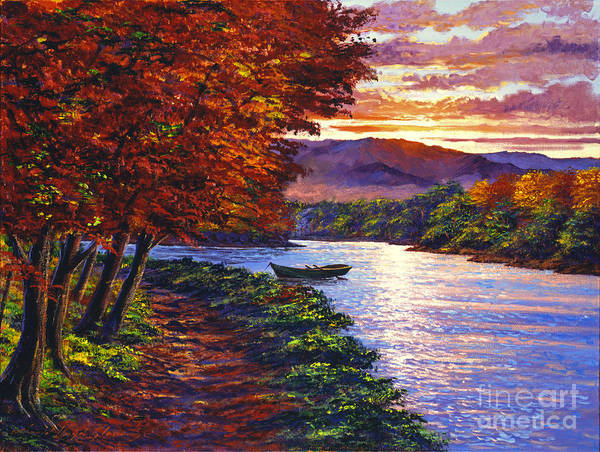 Landscape Poster featuring the painting Dawn On The River by David Lloyd Glover