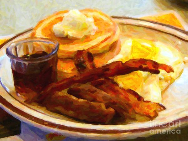 Breakfast Poster featuring the photograph Denny's Grand Slam Breakfast - Painterly by Wingsdomain Art and Photography