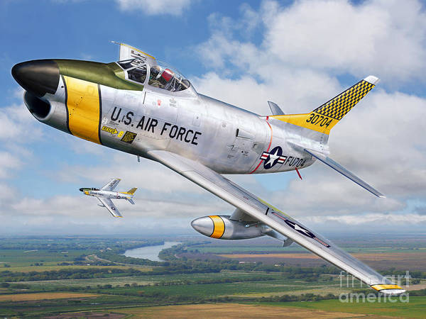 82nd F.i.s. Poster featuring the digital art F-86l Of The 82nd Fis by Stu Shepherd