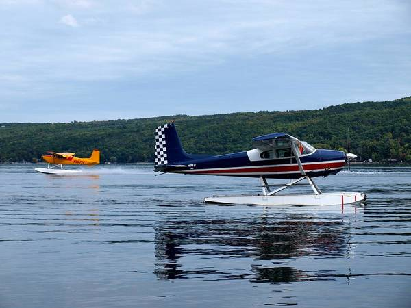 Cessna 180e Poster featuring the photograph Float Planes On Keuka by Joshua House