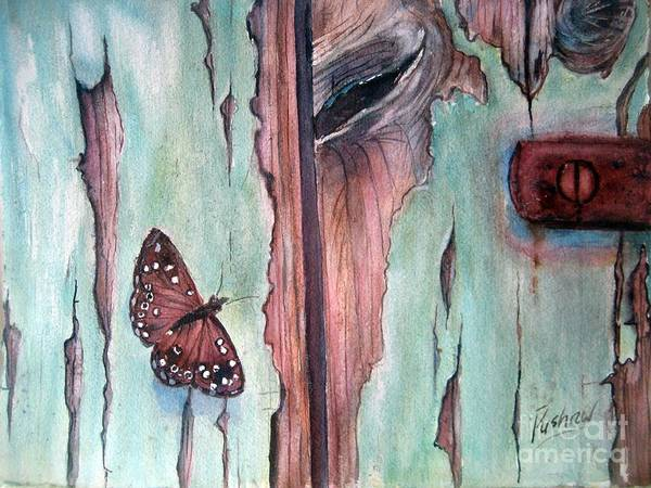 Door Poster featuring the painting Fragile Beauty by Patricia Pushaw