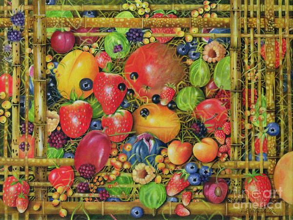 Still Life Poster featuring the painting Fruit In Bamboo Box by EB Watts