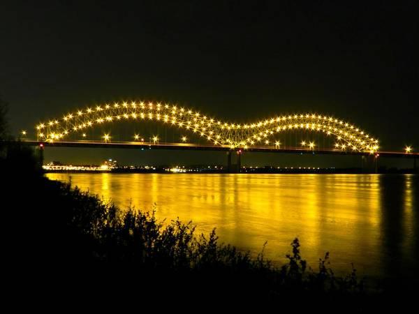 Memphis Tn Poster featuring the photograph Hernando De Soto Bridge 002 by Lance Vaughn