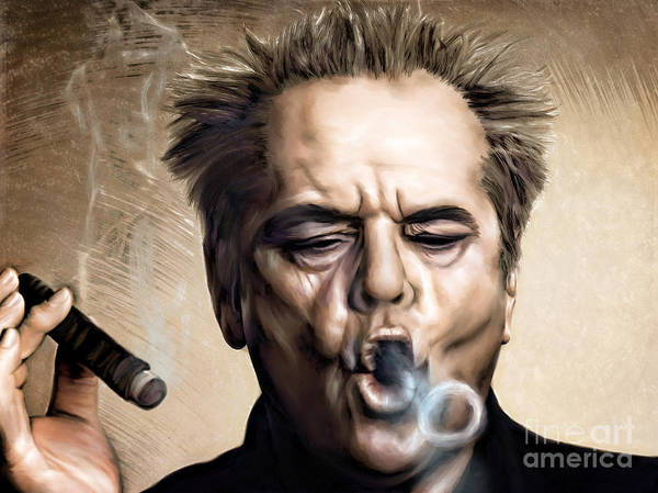 Actor Poster featuring the painting Jack Nicholson by Andrzej Szczerski