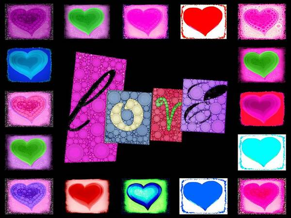 Heart Poster featuring the digital art Love Hearts by Cindy Edwards