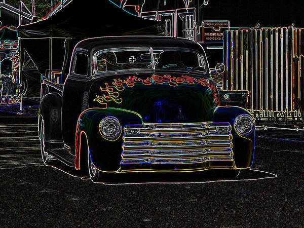 Chopped Poster featuring the photograph Neon 1948 Chevy Pickup by Steve McKinzie