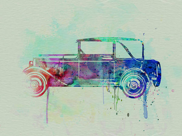 Vintage Car Poster featuring the painting Old Car Watercolor by Naxart Studio