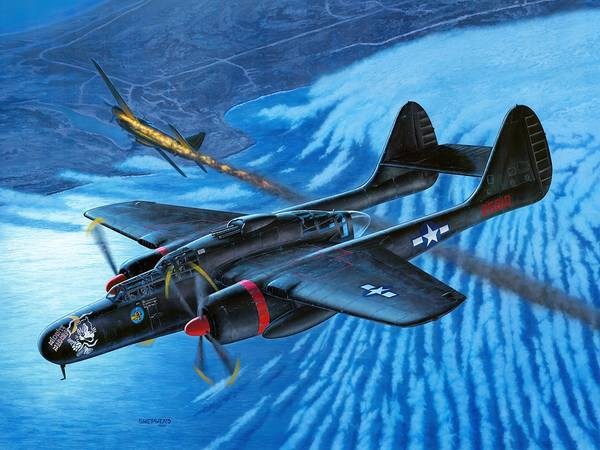 P-61 Poster featuring the painting P-61 Black Widow Caught In The Web by Stu Shepherd