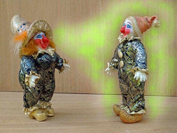 Clown Poster featuring the sculpture Peaches Dazzles Ferd by David Wiles