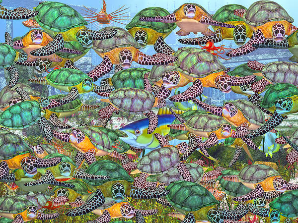 Turtles Poster featuring the digital art Protecting Mr. Bluefin by Betsy Knapp