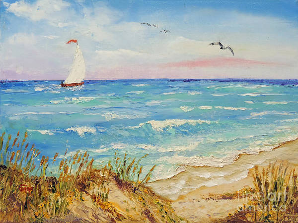 Sailboat Poster featuring the painting Sailing By The Beach by Jimmie Bartlett