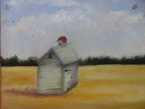 Yellow Poster featuring the pastel Shed On Yellow Field by Iris Nazario Dziadul