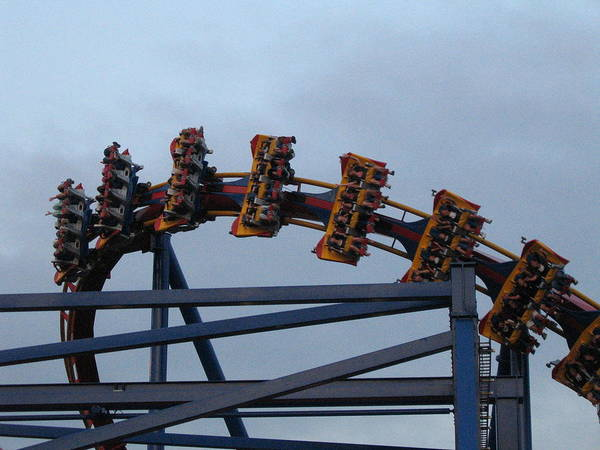 Six Poster featuring the photograph Six Flags Great Adventure - Medusa Roller Coaster - 12127 by DC Photographer