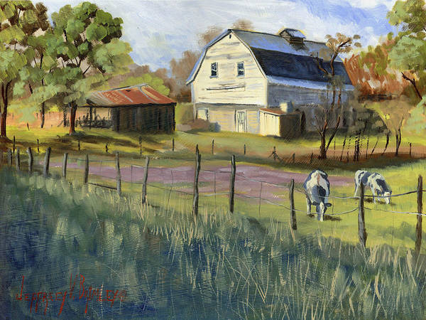 Jeffrey V Brimley Poster featuring the painting Spring Lake Smiling Barn by Jeff Brimley