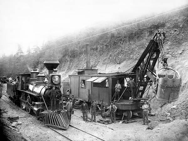 Locomotive Poster featuring the photograph Steam Locomotive And Steam Shovel 1882 by Daniel Hagerman