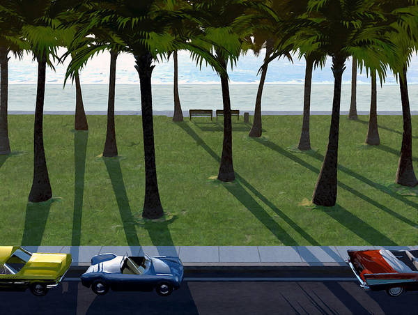 Cars Poster featuring the digital art Surfside by Cynthia Decker