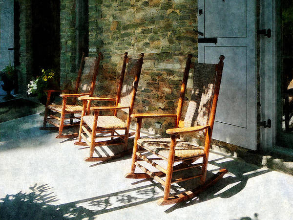 Rocking Chair Poster featuring the photograph Three Wooden Rocking Chairs On Sunny Porch by Susan Savad
