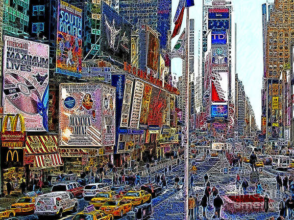 Time Square Poster featuring the photograph Time Square New York 20130430v2 by Wingsdomain Art and Photography