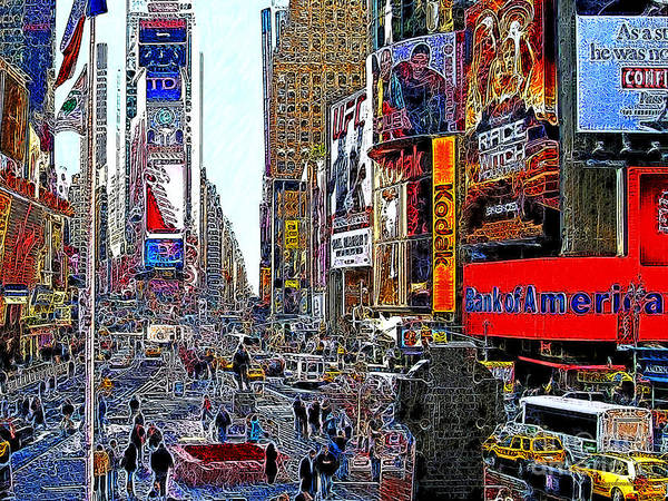 Time Square Poster featuring the photograph Time Square New York 20130503v4 by Wingsdomain Art and Photography